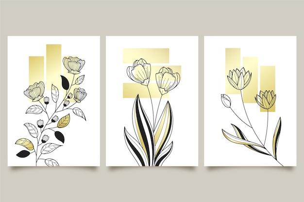Colección de tres cubiertas botánicas de oro