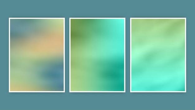 Colección de tres diseños abstractos de portadas borrosas