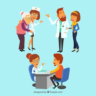 Colección de tres doctores con pacientes