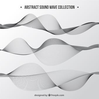 Colección de tres ondas sonoras en tonos grises
