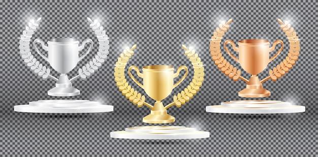 Colección de trofeo con corona de laurel