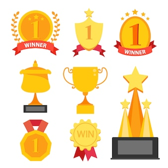 Colección de trofeos dorados