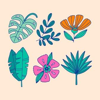 Colección tropical de hojas y flores