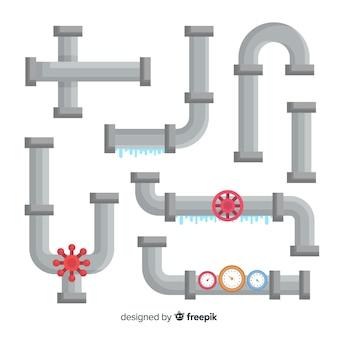 Colección de tuberías de agua con fugas de diseño plano