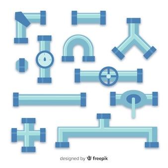 Colección de tuberías de diseño plano