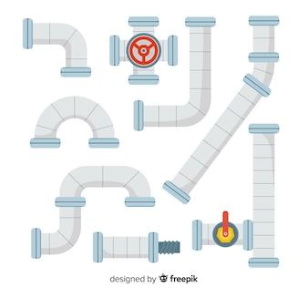 Colección de tuberías metálicas con medidor en diseño plano