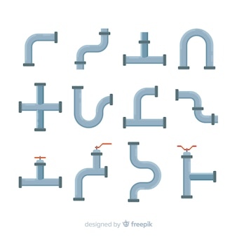 Colección de tubos de diferentes formas con diseño plano