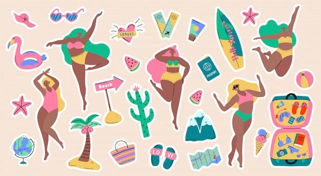 Colección de turismo de aventura, viajes al extranjero, pegatinas de viaje de vacaciones de verano, senderismo y mochilero elementos decorativos de diseño aislados sobre fondo blanco. ilustración colorida de dibujos animados plana