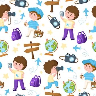 Colección de turistas de viajes de dibujos animados