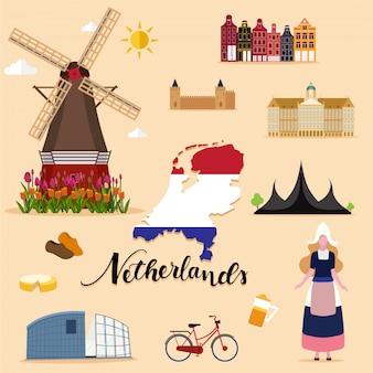 Colección turística de viajes de holanda.