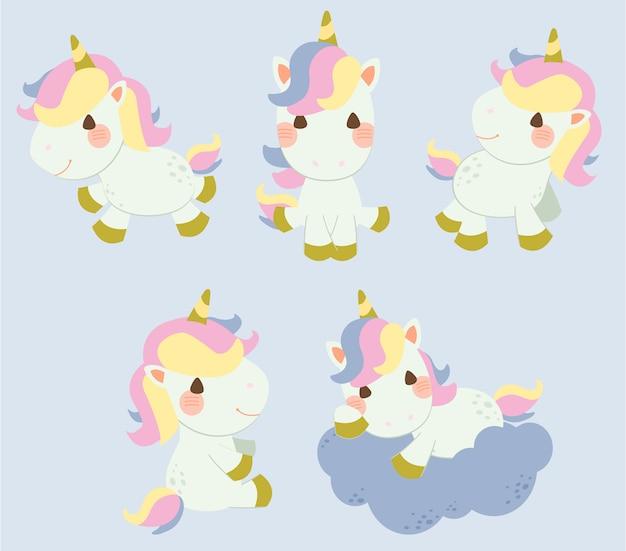 La colección de unicornio en muchos set de acción. el personaje del lindo unicornio. el lindo unicornio de pie y sentado en el suelo y las nubes.