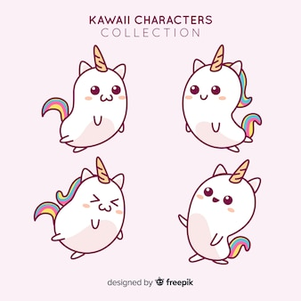 Colección unicornios adorables dibujados a mano