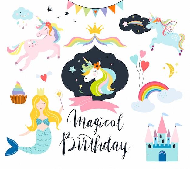 Colección de unicornios con elementos de fantasía para eventos de cumpleaños, tarjetas o invitaciones.