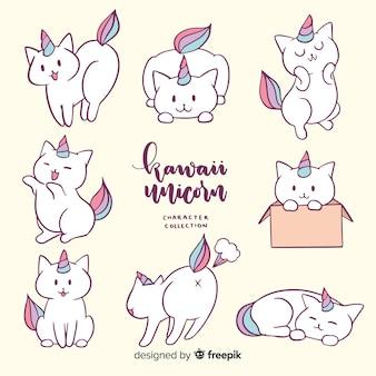 Colección de unicornios estilo kawaii