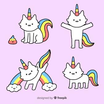 Colección unicornios kawaii dibujados a mano