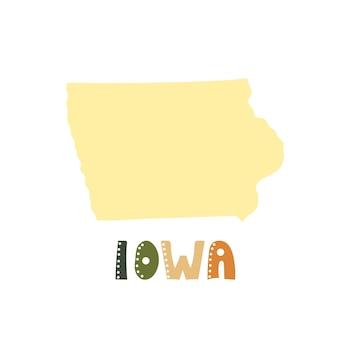 Colección usa. mapa de iowa - silueta amarilla. letras de estilo garabatos