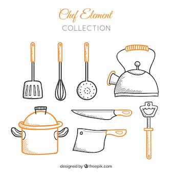 Colección de utensilios de cocina dibujados a mano