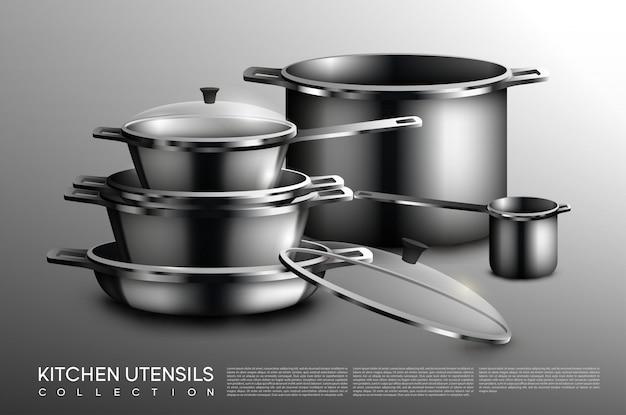 Colección de utensilios de cocina realistas