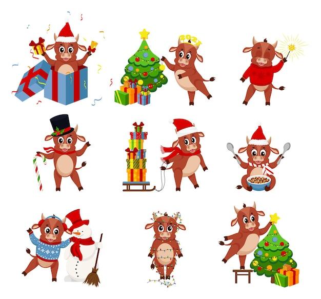 Colección de vacas divertidas. feliz año nuevo chino 2021, año de la vaca. toro animal 2021, año chino de la vaca. ilustración vectorial