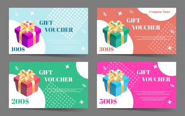 Colección de vales de regalo. conjunto de plantillas para tarjeta de regalo u oferta de descuento.