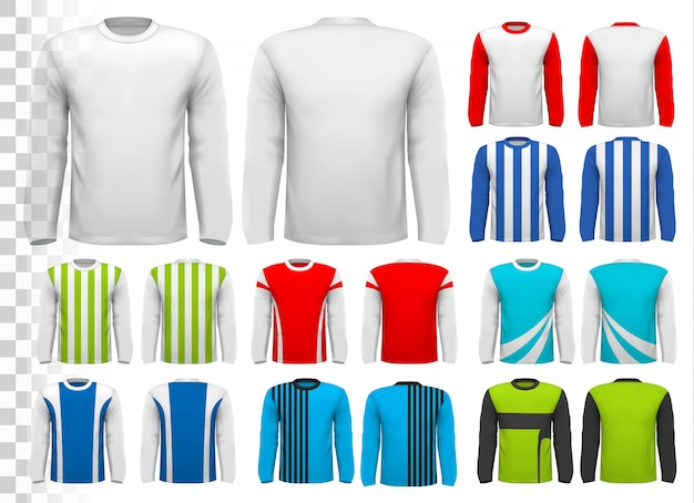 Colección de varias camisas masculinas de manga larga. plantilla de diseño. la camiseta es transparente y se puede utilizar como plantilla con tu propio diseño.