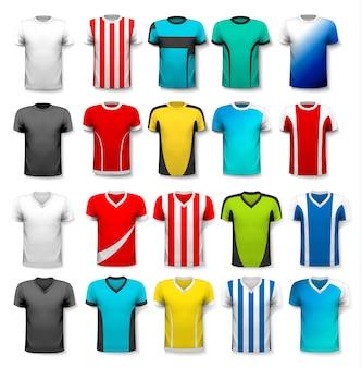 Colección de varias camisetas de fútbol. la camiseta es transparente y puede usarse como plantilla con la suya. .