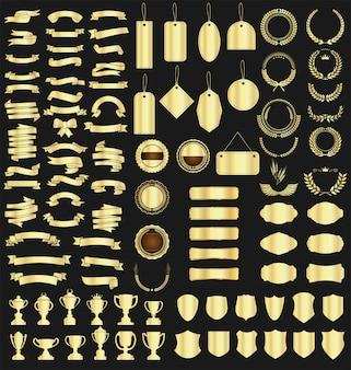Colección de varias cintas, etiquetas, laureles, escudos y trofeos.
