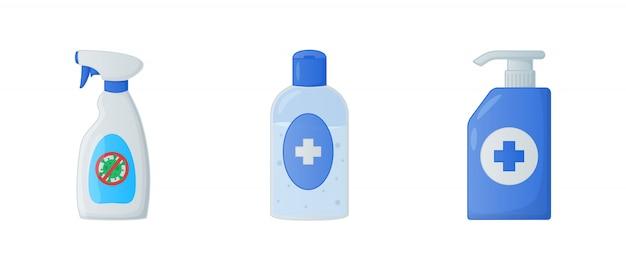 Colección de varias herramientas limpias con jabón líquido desinfectante y desinfectante para manos con estilo plano moderno