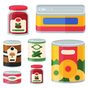 Colección de varias latas de alimentos enlatados de alimentos y envases de vidrio ilustración.