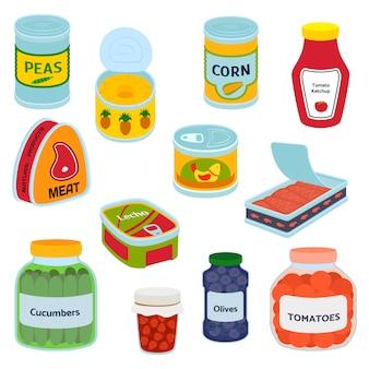Colección de varias latas de conservas de alimentos de metal contenedor de supermercado y producto, almacenamiento, etiqueta plana de aluminio conservan ilustración vectorial.