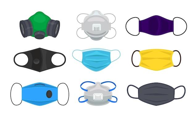 Colección de varias máscaras y respiradores para proteger contra virus e infecciones.