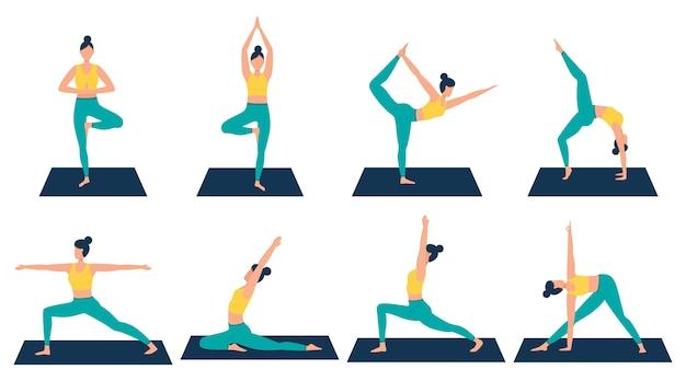 Una colección con varias posiciones de yoga en un estilo plano.