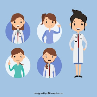Colección con variedad de doctoras profesionales