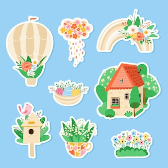 Colección de varios adhesivos de primavera en estilo plano.