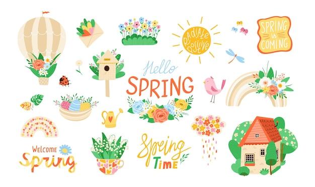 Colección de varios elementos de primavera en estilo plano. conjunto de flores, pájaros, arco iris, citas de diseño. concepto de primavera