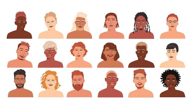 Colección de varios retratos de perfil de personajes masculinos de dibujos animados
