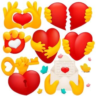 Colección de varios símbolos de mano amarilla emoji con corazones rojos, llave, sobre. estilo de dibujos animados en 3d.