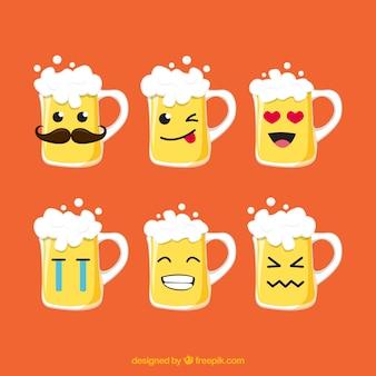 Colección de vasos y jarras de cerveza planas