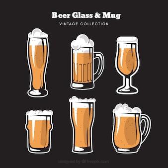 Colección de vasos y jarras de cerveza vintage
