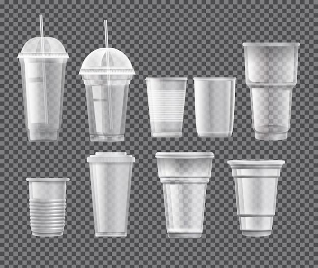 Colección de vasos de plástico.