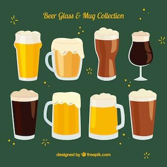 Colección de vasos y tazas de cerveza hechos a mano