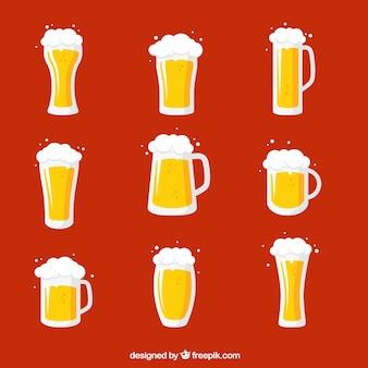 Colección de vasos y tazas de cerveza planos