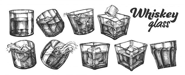 Colección de vasos de whisky irlandés clásico.