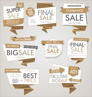 Colección de vector de banners y etiquetas de venta moderna