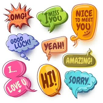 Colección de vector de burbujas de discurso colorido con puntos de semitono