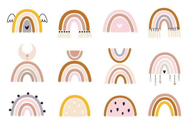 Colección de vector dibujado a mano para decoración de vivero con lindos arco iris
