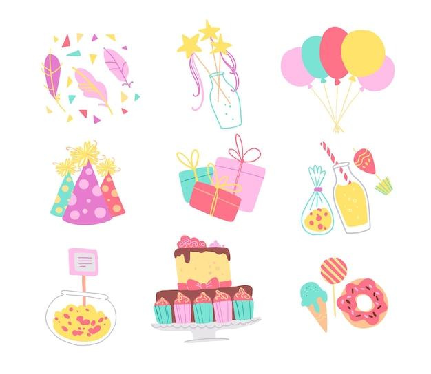 Colección de vector de elementos de decoración de fiesta de cumpleaños: confeti, sombrero, varita mágica, bd cake, dulces, globos, regalos aislados. estilo de dibujos animados plana. bueno para tarjetas, invitaciones, patrones, etiquetas, pancartas, etc.