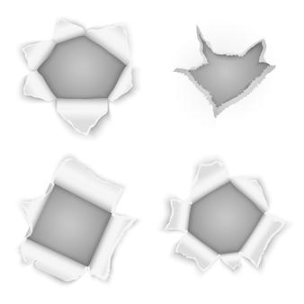 Colección de vectores de agujeros de papel rasgados. elemento de borde de diseño, ilustración rip curl