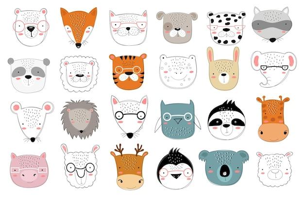 Colección de vectores de animales lindos doodle para niños. zoológico gráfico dibujado a mano. perfecto para baby shower, postal, etiqueta, folleto, volante, página, diseño de banner.