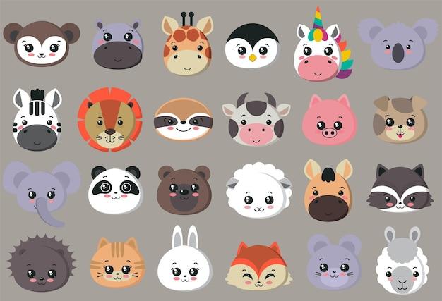 Colección de vectores de animales lindos se enfrenta a un gran conjunto de iconos para el diseño del bebé